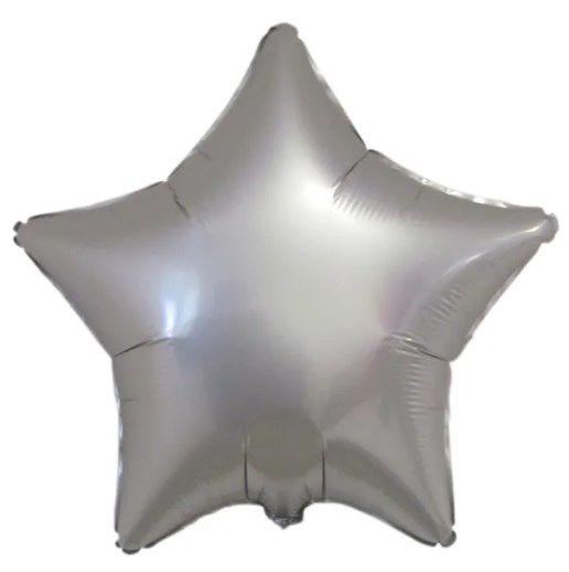 Balão Metalizado Estrela Liso 20'' 50cm - Cromado Platinum - Flexmetal - Rizzo Embalagens e Festas