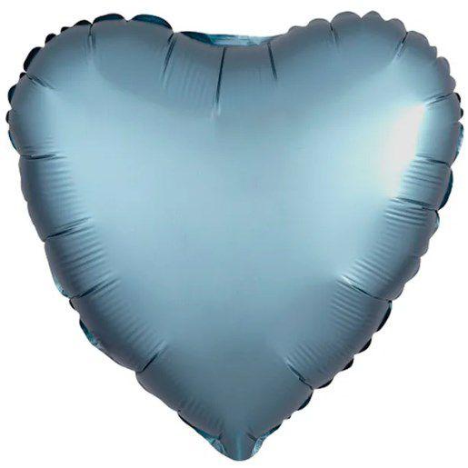 Balão Metalizado Coração Liso 20'' 50cm - Cromado Azul Steel - Flexmetal - Rizzo Embalagens e FCoras