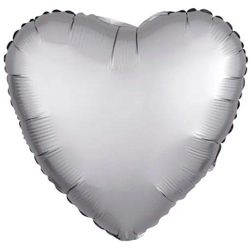 Balão Metalizado Coração Liso 20'' 50cm - Cromado Platinum - Flexmetal - Rizzo Embalagens e FCoras