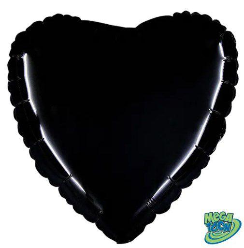 Balão Metalizado Coração Liso 20'' 50cm - Preto - Flexmetal - Rizzo Embalagens e FCoras