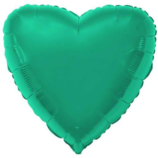 Balão Metalizado Coração Liso 20'' 50cm - Verde - Flexmetal - Rizzo Embalagens e FCoras