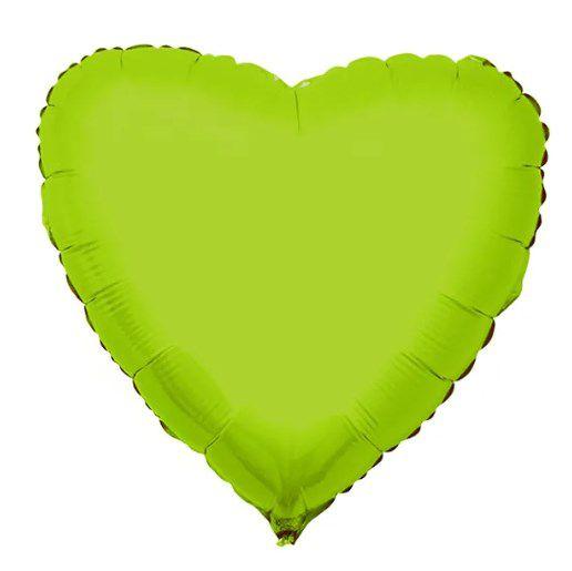 Balão Metalizado Coração Liso 20'' 50cm - Verde Limão - Flexmetal - Rizzo Embalagens e FCoras