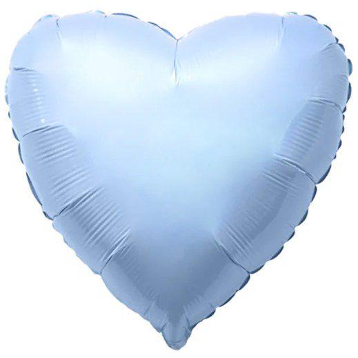 Balão Metalizado Coração Liso 20'' 50cm - Azul Baby - Flexmetal - Rizzo Embalagens e FCoras