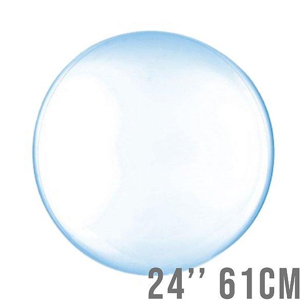 Balão Bubble Clear Azul 24'' 61cm - Cromus - Rizzo Embalagens e Festas