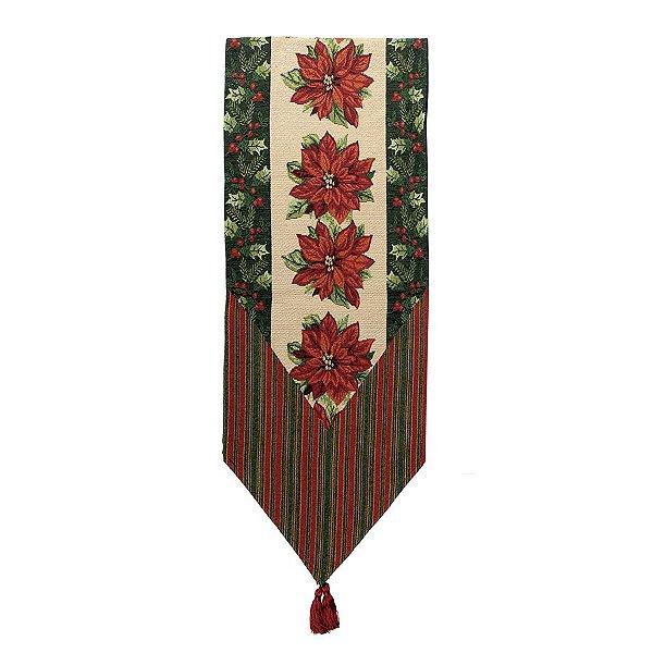 Caminho de Mesa Poinsettia Vermelho 180cm - 01 unidade - Cromus Natal - Rizzo Embalagens