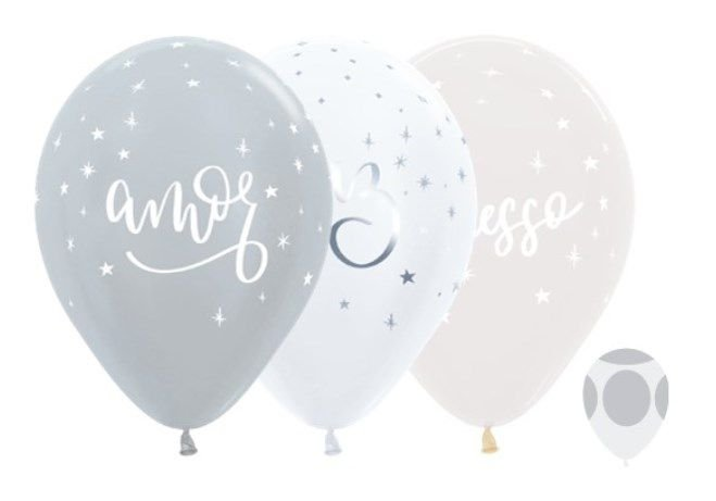 Balão de Festa Latex R12'' 30cm - Satin Cristal Felicitações Prata - 50 unidades - Sempertex Cromus Natal - Rizzo Festas