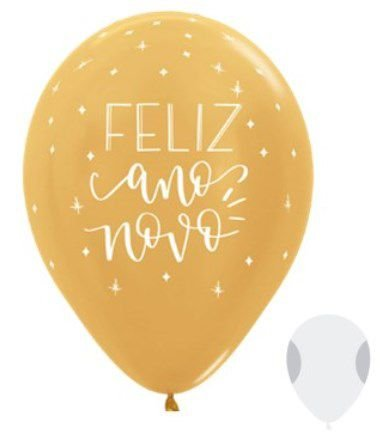 Balão de Festa Latex R12'' 30cm - Satin Feliz Ano Novo Dourado - 50 unidades - Sempertex Cromus Natal - Rizzo Festas