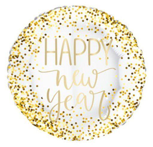 Balão Metalizado Redondo Happy New Year Branco - 18'' - Sempertex Cromus - Rizzo Festas