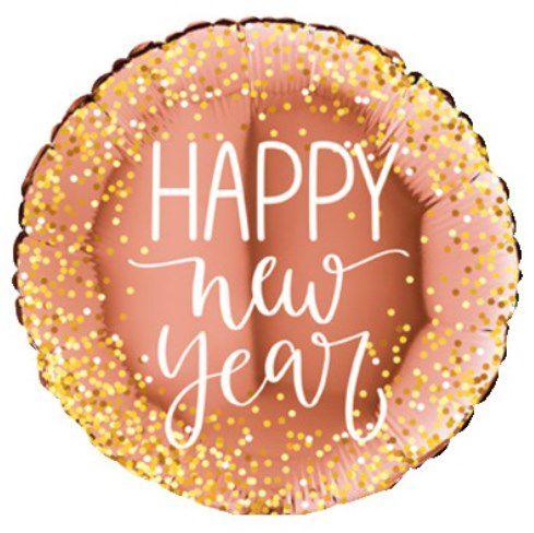 Balão Metalizado Redondo Happy New Year Rose Gold - 18'' - Sempertex Cromus - Rizzo Festas