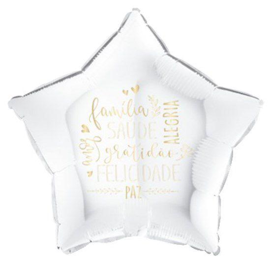 Balão Metalizado Estrela Felicitações Branco - 18'' - Sempertex Cromus - Rizzo Festas