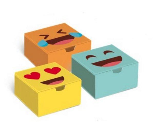 Caixa para 4 brigadeiros 8,5x8,5x3,5cm Emoticons - 10 unidades - Cromus - Rizzo Embalagens