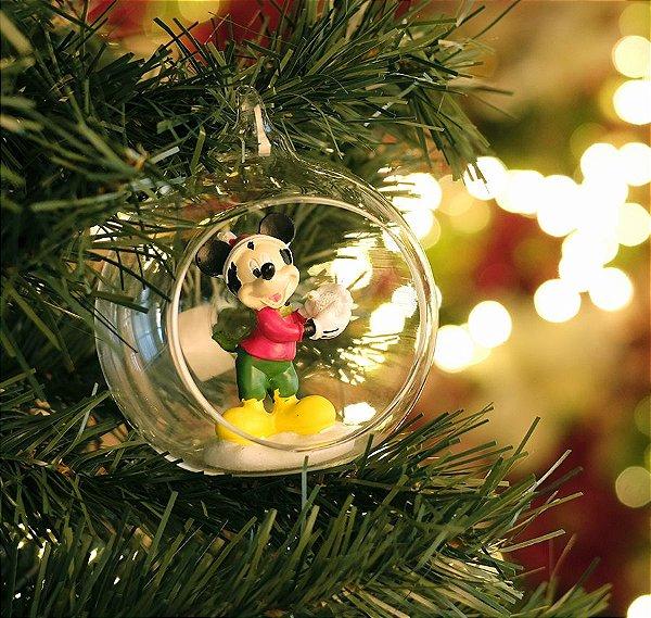 Bola de Vidro com Mickey 10cm - 02 unidades - Natal Disney - Cromus - Rizzo Embalagens