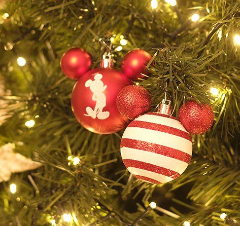 Bola Mickey Listras Branco e Vermelho 8cm - 04 unidades - Natal Disney - Cromus - Rizzo Embalagens