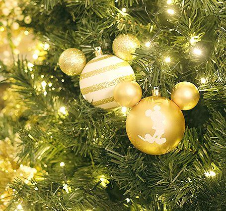 Bola Mickey Listras Branco e Ouro 8cm - 04 unidades - Natal Disney - Cromus - Rizzo Embalagens