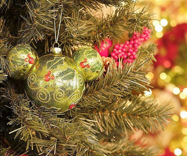 Bola de Vidro Mickey Azevinho 8cm - 02 unidades - Natal Disney - Cromus - Rizzo Embalagens
