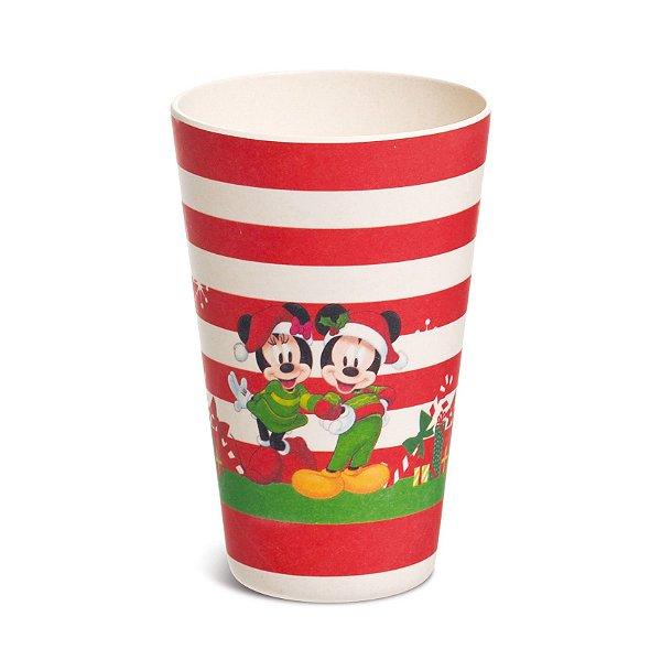Copo Fibra de Bambu 400ml Mickey e Minnie Listras - 01 unidade - Natal Disney - Cromus - Rizzo Embalagens