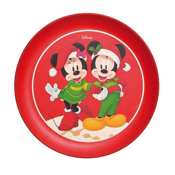 Prato Sobremesa Fibra de Bambu Mickey e Minnie  18cm - 01 unidade - Natal Disney - Cromus - Rizzo Embalagens