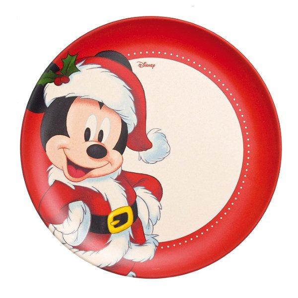 Prato Grande Fibra de Bambu Mickey e Minnie Fun 25cm - 01 unidade - Natal Disney - Cromus - Rizzo Embalagens