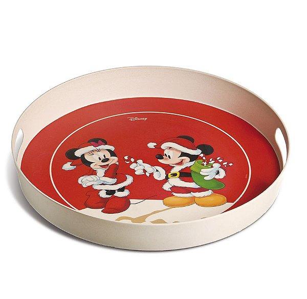 Bandeja Redonda Fibra de Bambu Mickey e Minnie Fun 40cm - 01 unidade - Natal Disney - Cromus - Rizzo Embalagens