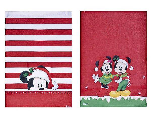 Pano de Copa Mickey e Minnie Composê 70cm - 02 unidades - Natal Disney - Cromus - Rizzo Embalagens