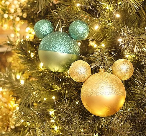 Kit Bola Mickey Verde e Ouro Glitter 6cm - 06 unidades - Natal Disney - Cromus - Rizzo Embalagens