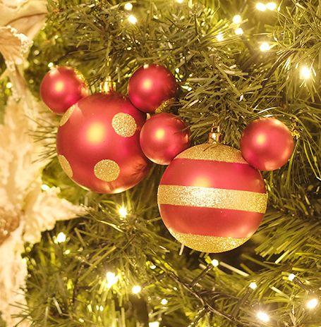 Kit Bola Mickey Vermelho Ouro Listras e Poá 8cm - 04 unidades - Natal Disney - Cromus - Rizzo Embalagens