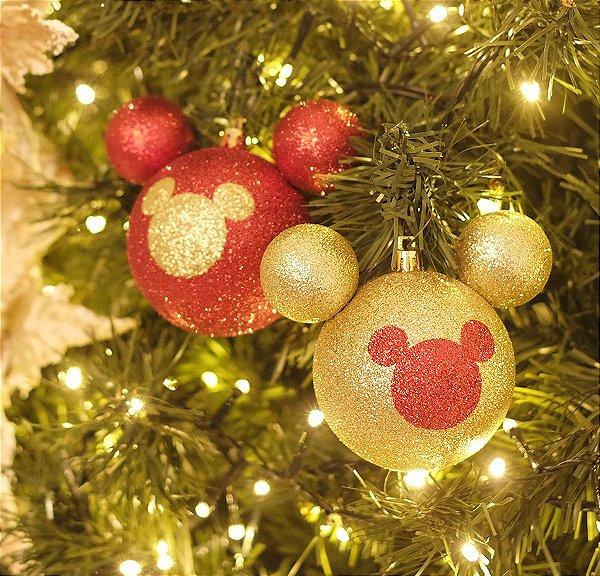 Kit Bola Mickey Silhueta Glitter Vermelho e Ouro 6cm - 06 unidades - Natal Disney - Cromus - Rizzo Embalagens