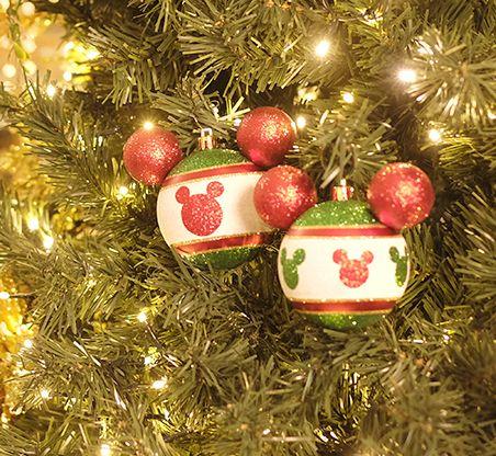 Kit Bola Mickey Silhueta Glitter Vermelho Verde e Ouro 8cm - 04 unidades - Natal Disney - Cromus - Rizzo Embalagens