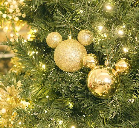 Kit Bola Mickey Lisa e Glitter Ouro 8cm - 04 unidades - Natal Disney - Cromus - Rizzo Embalagens