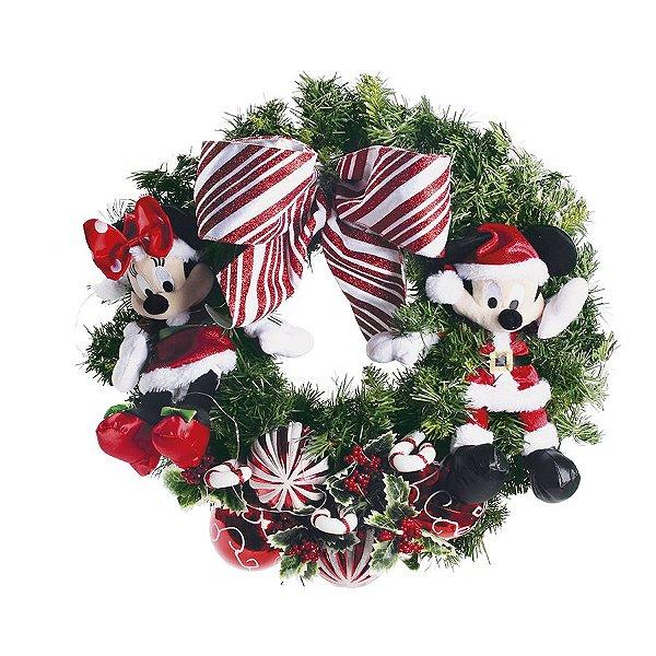 Guirlanda Decorada Mickey e Minnie 60cm - 01 unidade - Natal Disney - Cromus - Rizzo Embalagens