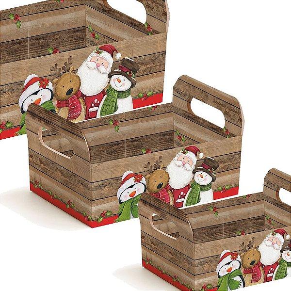 Caixote de Papel Turminha Natal Cromus - Rizzo Embalagens e Festas