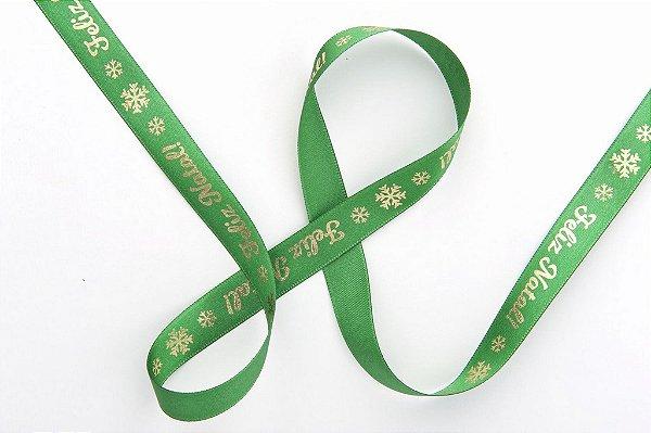 Fita de Natal em Cetim Verde Feliz Natal Ouro - 15mm x 10m - Progresso - Rizzo Embalagens e Festas