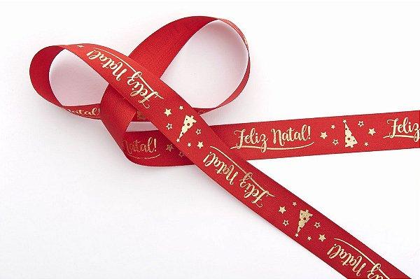 Fita de Natal em Cetim Vermelha Feliz Natal com Arvore Ouro - 22mm x 10m - Progresso - Rizzo Embalagens e Festas