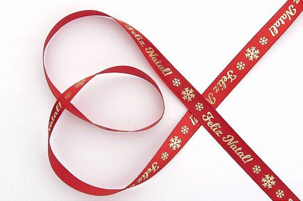 Fita de Natal em Cetim Vermelha Feliz Natal com Flocos de Neve Ouro - 15mm x 10m - Progresso - Rizzo Embalagens e Festas