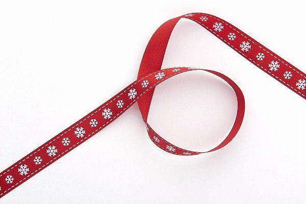 Fita de Natal em Cetim Vermelha Flocos de Neve Brancos - 15mm x 10m - Progresso - Rizzo Embalagens e Festas