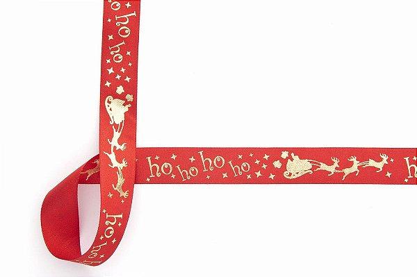 Fita de Natal em Cetim Vermelha Ho Ho Ho Ouro - 22mm x 10m - Progresso - Rizzo Embalagens e Festas