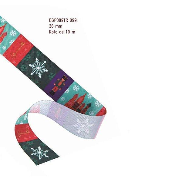 Fita de Natal em Cetim Temas Natalinos - 38mm x 10m - Progresso - Rizzo Embalagens e Festas