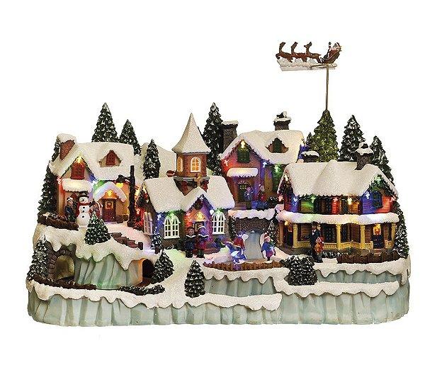 Cenário Vila Noel com Luz Som e Movimento Bivolt 55cm - 01 unidade - Cromus Natal - Rizzo Embalagens