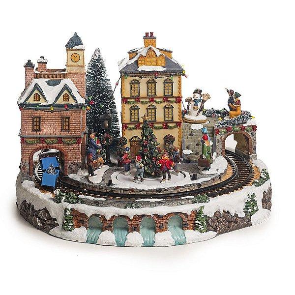 Cenário Vila com Trem com Luz Som e Movimento Bivolt 40cm - 01 unidade - Cromus Natal - Rizzo Embalagens