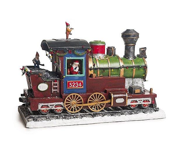 Cenário Trem e Duendes com Luz Som e Movimento Bivolt 35cm - 01 unidade - Cromus Natal - Rizzo Embalagens