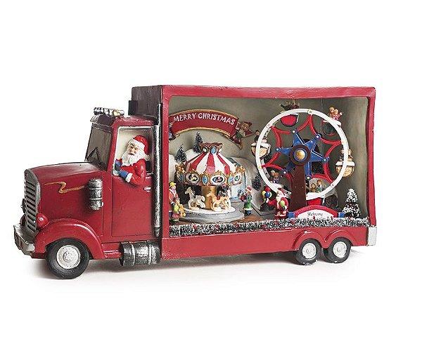 Cenário Trem Noel com Luz Som e Movimento Bivolt 50cm - 01 unidade - Cromus Natal - Rizzo Embalagens