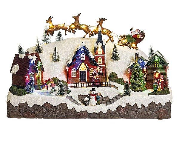 Cenário Vila com Noel e Renas com Luz Som e Movimento Bivolt 40cm - 01 unidade - Cromus Natal - Rizzo Embalagens