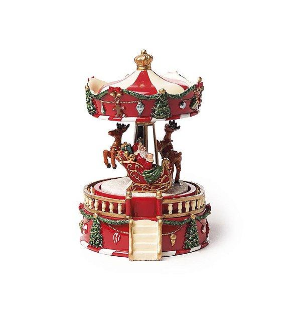 Bibelô Musical a Corda Carrossel com Noel e Renas 15cm - 01 unidade - Cromus Natal - Rizzo Embalagens