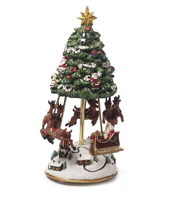 Bibelô Musical a Corda Árvore com Noel Trenó e Renas 25cm - 01 unidade - Cromus Natal - Rizzo Embalagens