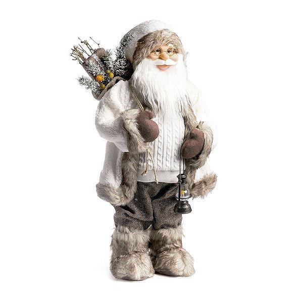 Noel Roupa Tricot Branca Segurando Lampião 60cm - 01 unidade - Cromus Natal - Rizzo Embalagens