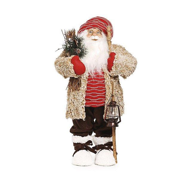 Noel Casaco Bege Segurando Lampião P 65cm - 01 unidade - Cromus Natal - Rizzo Embalagens