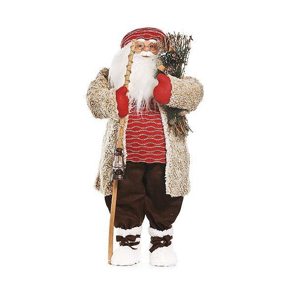 Noel Casaco Bege Segurando Lampião G 85cm - 01 unidade - Cromus Natal - Rizzo Embalagens