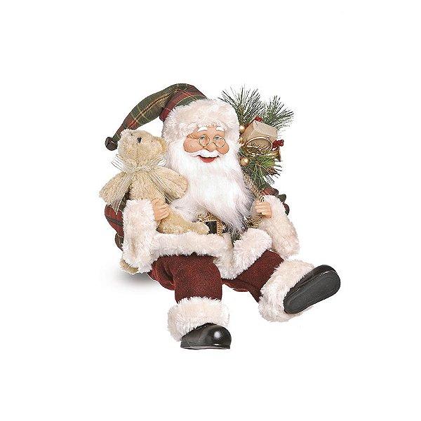 Noel Xadrez Sentado Segurando Urso 40cm - 01 unidade - Cromus Natal - Rizzo Embalagens