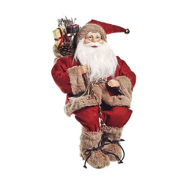 Noel Sentado com Casaco Vermelho e Bege 45cm - 01 unidade - Cromus Natal - Rizzo Embalagens