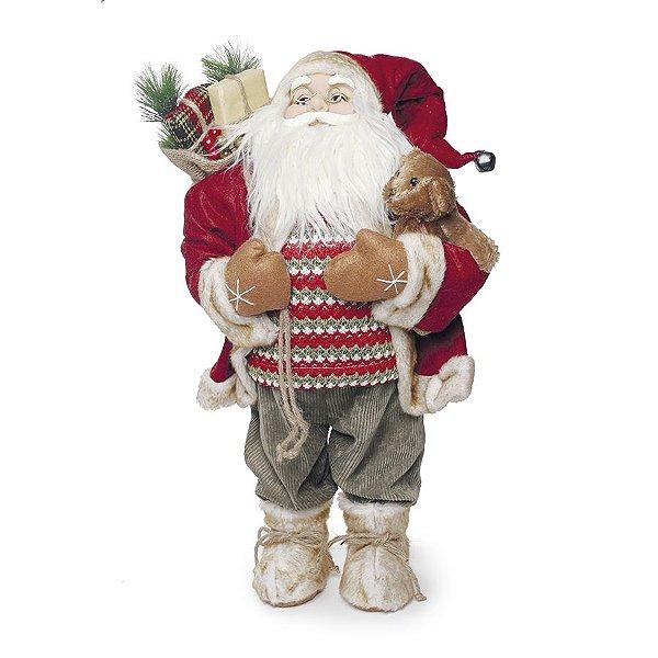 Noel em Pé Segurando Urso Marrom 62cm - 01 unidade - Cromus Natal - Rizzo Embalagens